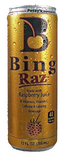 Raz Pack - 8 Pack - Petey's Bing Raz - Raspberry - 12oz.+ Energy Drink Outlet Sticker