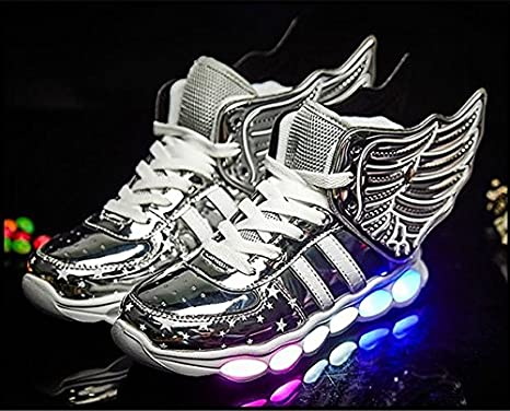 White Dwarf Kids High Top Rechargeable LED Flashing Detachable Wing Shoes Toddler//Little Kids//Big Kids