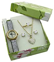 Crystal Watch Jewelry Gift Set - Gold Tone Heart Necklace - Stud Earrings and Ring
