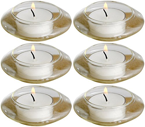 Glass Floating Candle Holders (Biedermann & Sons Floating Glass Tealight Candle Holders, Box of 6)