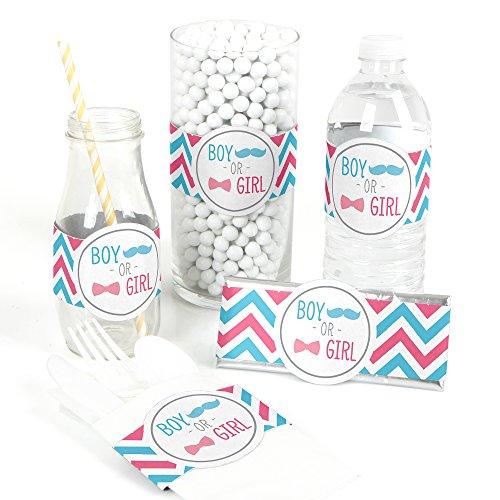 Chevron Gender Reveal - DIY Party Supplies - Bridal Shower or Gender Reveal Party DIY Wrapper Favors & Decorations - Set of 15 ()