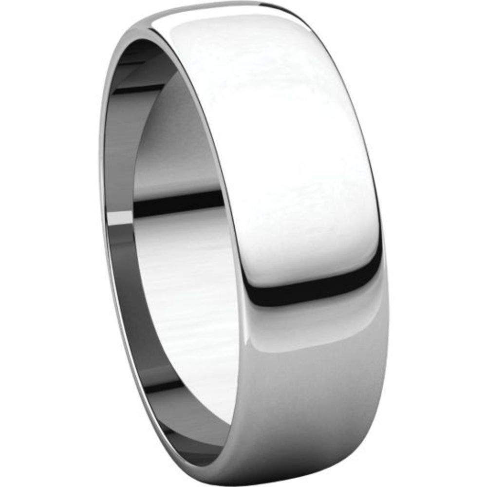 Bonyak Jewelry 10k White Gold 6 mm Half Round Lightweight Band Size 13.5