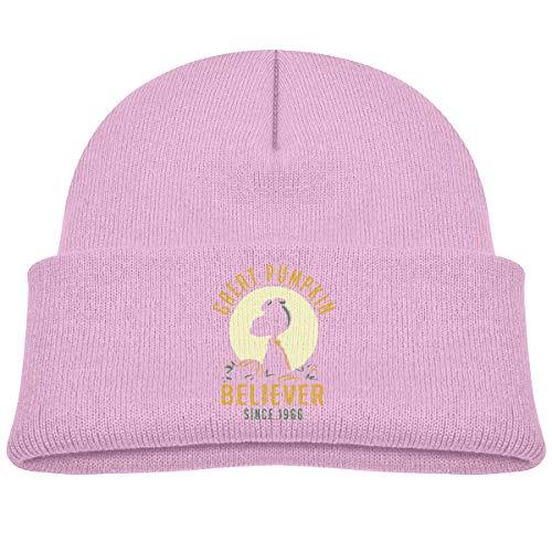 (Children's Knitted Hat Great Pumpkin Believer Boy Girl Cap Pink)