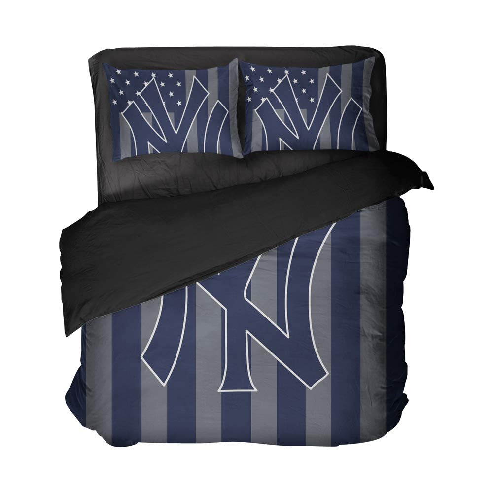 Magaport New York Bed Set Football Bedding Athletes Flat Sheets 3D Printed Bedspread Duvet Covers (Blue, Twin 3pcs)