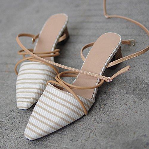 Baotou Chaussures avec Romain des Épais Vintage de Rayé Fées CWJ Abricot 4danq0w4