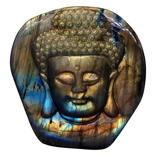NATURSTON Handmade Gemstone's Buddha Head Statue Natural Labradorite Carving Meditation Buddha Religious Figurine (Multicolor-2.4'')