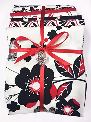 Black Fat Quarter - Japanese Asian Fat Quarter Color Pack (8 Fat Quarters) - Moon Flower Group 1 - Cream, Red & Black