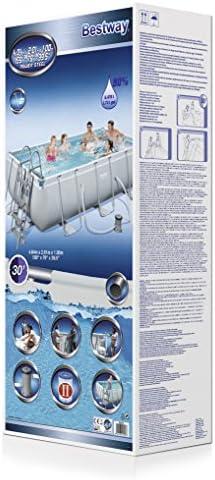 Bestway 56441 Juego de Piscina Rectangular Power Steel, Azul, 4.04 ...
