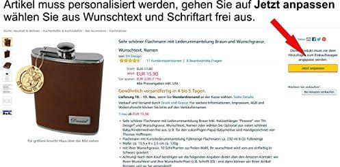 Sehr schöner Flachmann mit Lederummantelung Braun und Wunschgravur, Wunschtext, Namen