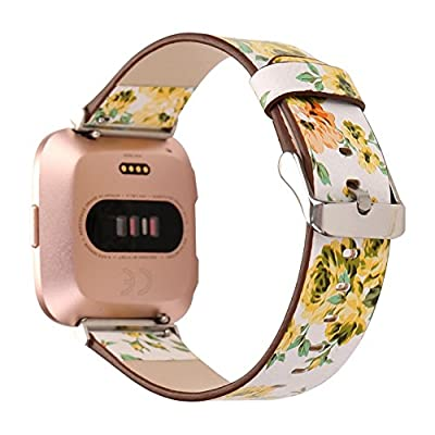 Juzzhou Watch Band Leather Flower Replacement For Fitbit Versa With Metal Adapter and Adjustable Buckle