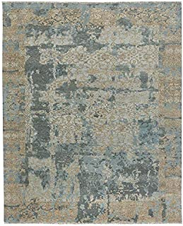 product image for Capel Ellerbe Tan Blue 8' x 11' Rectangle Hand Knotted Rug