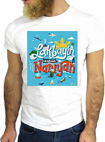 T SHIRT JODE Z1958 LAKBAYIN NARYIAN SUMMER PALM CALIFORNIA FUN COOL FASHION GGG24 BIANCA - WHITE M