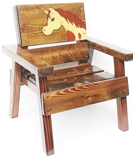 Childrens' Wood Chair, Indoor / Outdoor, Engraved and Painted Horse Design