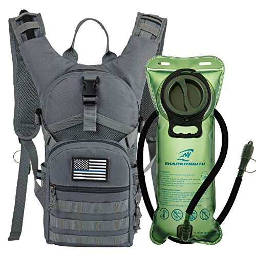 SHARKMOUTH Tactical MOLLE Hydration Pack Backpack 900D with 2L Leak-Proof Water Bladder, Keep Liquids Cool for Up to 4 Hours, Outdoor Daypack for Cycling, Hiking, Running, Climbing, Hunting, Gray