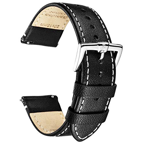 B&E Quick Release Watch Bands Strap Top Smooth Genuine Leather for Men & Women - Lite Vintage Style Wristbands for Traditional & Smart Watch - 16mm 18mm 20mm 22mm 24mm Width Available - BKWT16