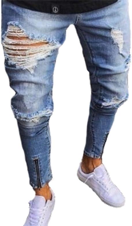 Hellomiko Jeans da Uomo Strappati Slim Fit Moto Vintage Jeans Denim Hip Hop Streetwear Pantaloni con Cerniera