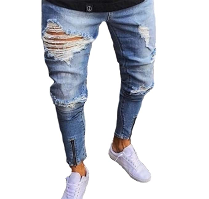 fe1a515b84c7d Pantalones vaqueros para hombre Ripped Slim Fit Motocicleta Vintage Denim Jeans  Hip Hop Streetwear Pantalones con cremallera  Amazon.es  Ropa y accesorios