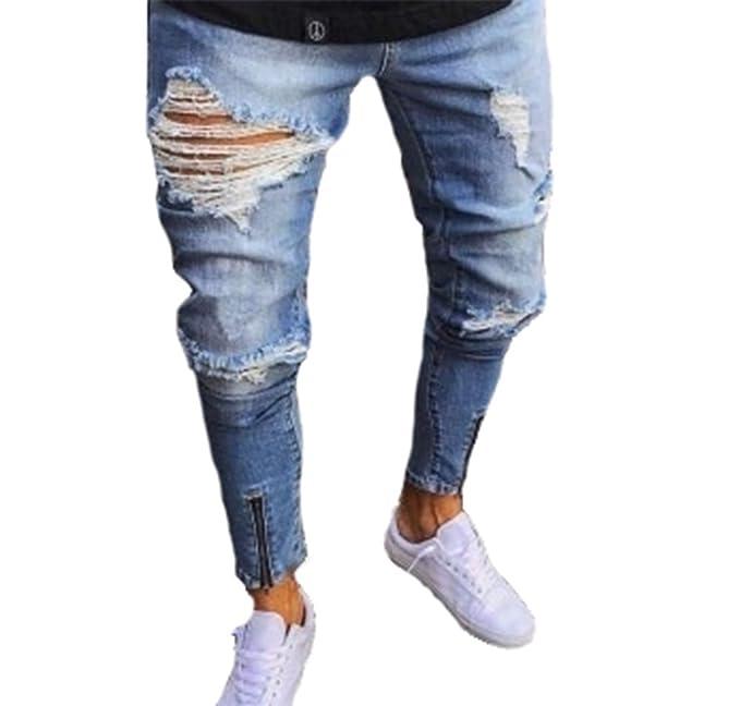 Pantalones Vaqueros para Hombre Ripped Slim Fit Motocicleta ...