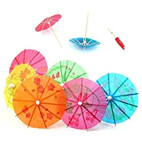 TRIXES 24 Colourful Paper Cocktail Umbrellas