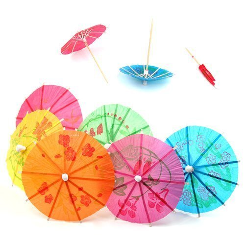 TRIXES Cocktail Drinks Umbrellas - 50 x Colourful Party Pack - Beach Party Umbrellas for The Tropical Drink Look from TRIXES