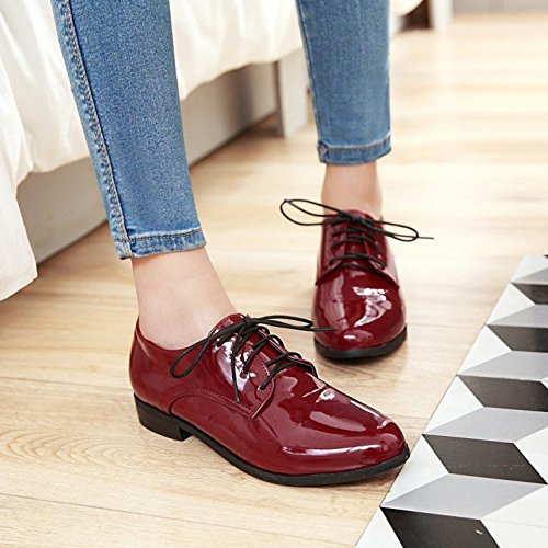 Women's up Trendy Oxfords Low Heel Mofri Lace Round Shoes Block Toe Low Red Top qZvwRHdxw