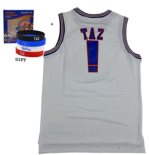 TAZ ! Space Jam Jersey Basketball Jersey Include Free Themed Wristbands (WHITE, S)