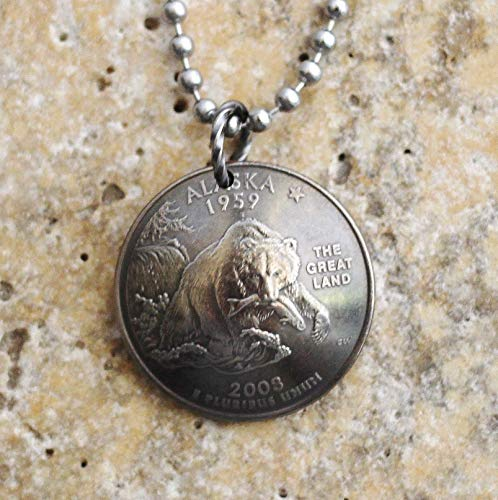 Alaska State Quarter Domed Coin Necklace Grizzly Bear Alaskan Wildlife Animal Pendant 2008 ()