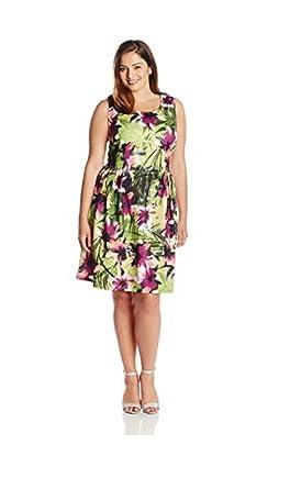 a0dee4ce790 Forever Audrey Women s Plus-Size Edgy Tropical Scuba Dress at Amazon ...