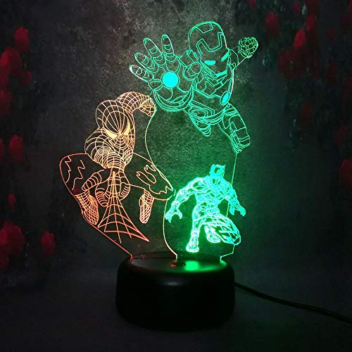 3D LED Night Light RGB Dual Color Lamp Marvel Legend Black Panther Iron Man Spider Man Night Stand Desk Table Lamp Children Kid Gift from Amroe