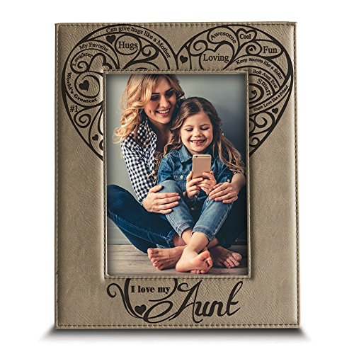 "BELLA BUSTA-I Love My Aunt- Engraved Leather Picture Frame- Aunt Gift Auntie Gifts (4"" x 6"" Vertical)"