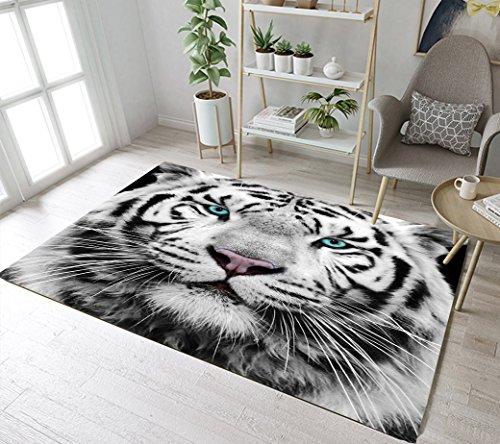 LB Hipster Tiger Area Rug,White Siberian Tiger with Blue Eyes Gaze Animal Print Rug for Living Room Bedroom Carpet Non Slip Comfortable Floor Mats Home Decor 4'X5'3''