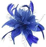 Blue Star Bibi avec plumes Bleu roi monté sur un peigne pour cheveux fleur spécial sorties