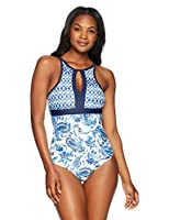 Coastal Blue Women's Swimwear Empire Waist Colorblock One Piece Swimsuit, New Navy Floral, L (12-14)
