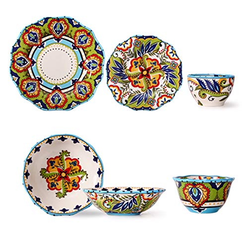 QPGGP-Plate European Style Creative Hand Painted Ceramic Tableware, 5 Sets of Modern Household Dishes, Dish Bowls, Decorative Pendulum Plates, and Hanging Plates,A