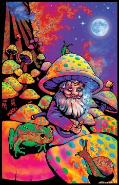 ght Velvet Flocked Poster Art Print (23x35) (Mushroom Blacklight Poster)