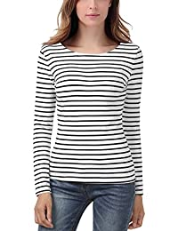 EA Selection Women's Long Sleeves Stripes Casual Lightweight T-Shirt Tops