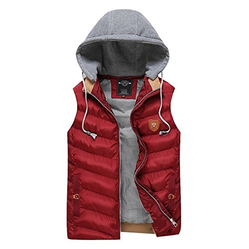 Slim Autumn Outerwear Winter Blue Warm Coat JYZ Red Men's Men Hot Cotton Down Navy Fit Sleeveless Jacket Hooded Padded M Jacket 5qBFZXw