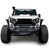 Opar Blade Master Front Bumper w/ Winch Plate & 1x 60W Light Bar & 2x Fog Lights for 07-18 Jeep Wrangler & Wrangler Unlimited JK