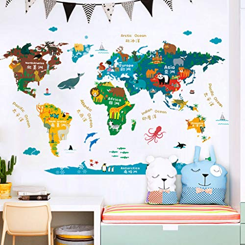 Gotian PVC Map Wall Stickers for Bedroom Living Room Wall Decorations Removable Stickers for Kids Boys and Girls Apply for Smooth Clean Dry Surface for Kitchen Dining Room Decoration ()