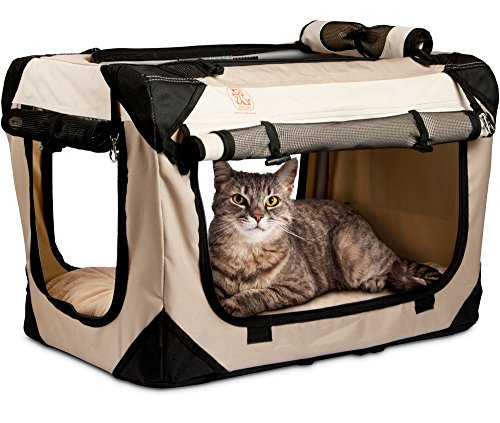 - PetLuv Happy Pet Cat & Dog Crate & Carrier Premium Soft Sided Foldable Top & Side Loading Pet Carrier Locking Zippers Shoulder Straps Seat Belt Lock Nap Pillow Reduces Anxiety