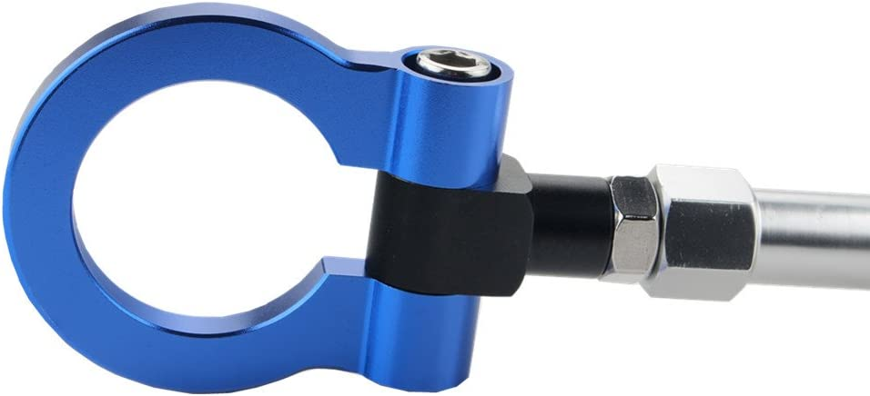 Blue DEWHEL Screw On Aluminum Front Rear Bumper Racing Style Folding Tow Hook for F22 F30 F32 F10 F25 F26 F15 2 3 4 5 Series i3 X3 X4 Z4 and Mini Cooper F55 F56 R60 R61