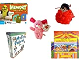 Children's Gift Bundle - Ages 3-5 [5 Piece] - Shrek Forever After Memory Game - The Wiggles Captain Feathersword Net Bath Sponge - Plush Appeal Pink Bunny Plush 7