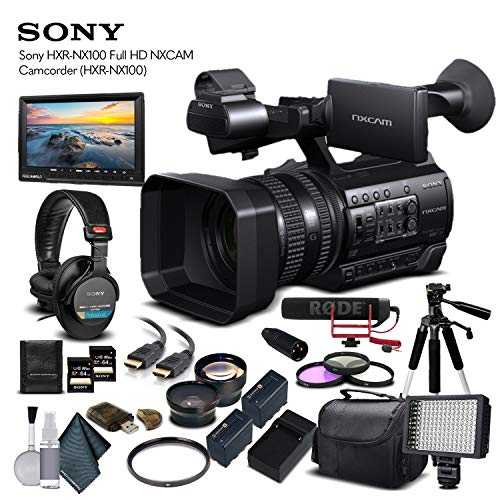 Sony HXR-NX100 Full HD NXCAM Camcorder (HXR-NX100) with 2-64GB Memory Card, 2 Extra Batteries, UV Filter, LED Light, Case, Tripod, Rode VM-GO Mic, External Screen, Headphones - Professional Bundle