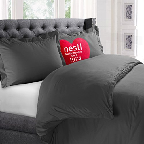 Nestl Bedding Duvet Cover, Protects and Covers your Comforter / Duvet Insert, Luxury 100% Super Soft Microfiber, Twin (Single) Size, Color Charcoal Gray, 2 Piece Duvet Cover Set Includes 1 Pillow Sham