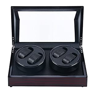 Homend 4+0 Automatic Watch Winder Carbon Fiber Jewelry Storage Case Watches Display Box