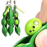 EocuSun Puchi Puti Mugen Edamame Keychain Keyring Extrusion Bean Pea Soybean Toys Gift (Random Expression), 3 Piece