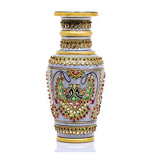 Indus Creation Marble Decorative Flower Vase Hand-Painted Meenakari Design