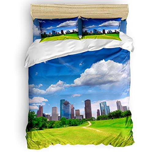Fandim Fly Bedding Set Twin Size, Houston Dezhou Urban Design Skyscrapers in The Cloudy Sky Digital Print,Comforter Cover Sets for All Season ()