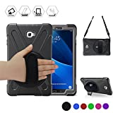 Galaxy Tab A 10.1'' Case, BRAECN Three Layer Heavy Duty Shockproof Rugged Case with 360 Degree Rotatable Stand/Hand Strap and Shoulder Strap for Samsung Tab A 10.1 SM-T580N/T585C-Kids Students(Black)