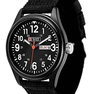 Military Royale Swiss Design Quartz Mens Designer Best Watches Black Bands MR051